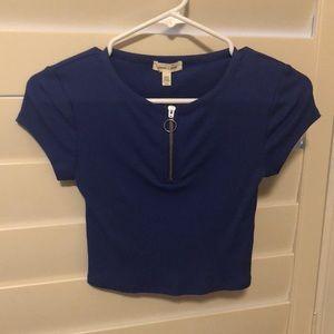 Blue zipper t-shirt
